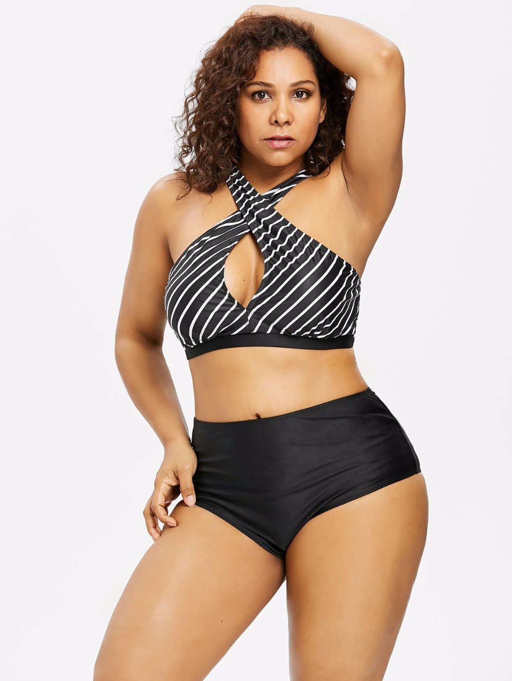 <font><b>2018</b></font> <font><b>Plus</b></font> <font><b>Size</b></font> Striped Bikini Set <font><b>Push</b></font> <font><b>Up</b></font> <font><b>Swimwear</b></font> Women Floral Print <font><b>Large</b></font> Brazilian Swimsuit <font><b>Sexy</b></font> Bandage Ruffle bathing suit image