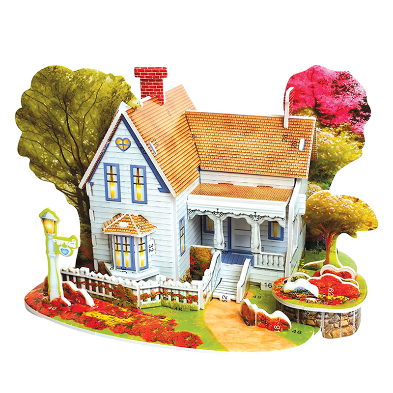 3D Puzzle Diy Building Construction Toys Card Model Building Sets Safe Foam Romantic House Garden Trees Toys For Kids