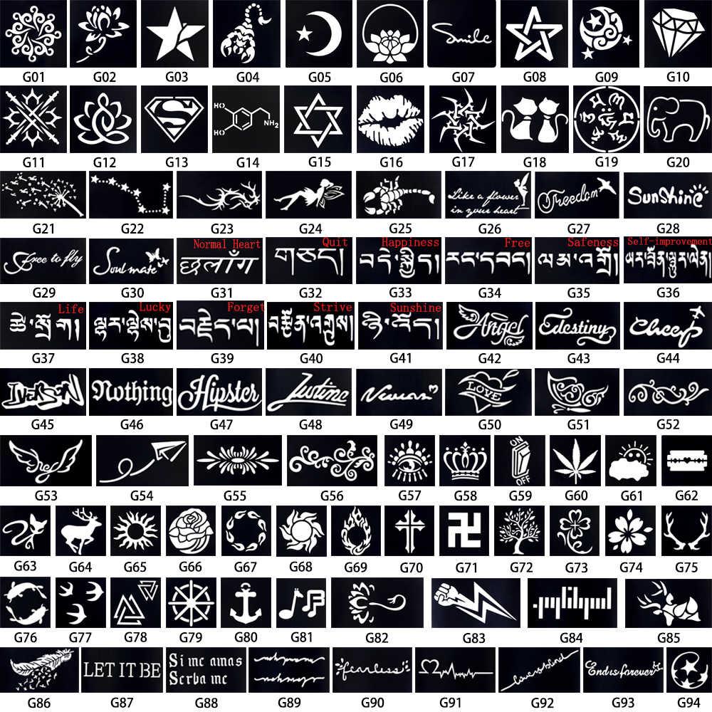 1 pieza Plantilla de tatuaje de Henna corona patrón de palabra dibujo arte corporal para mujer pintura aerógrafo pequeña plantilla de tatuaje de Henna DIY Plantilla de tatuaje plantilla G93