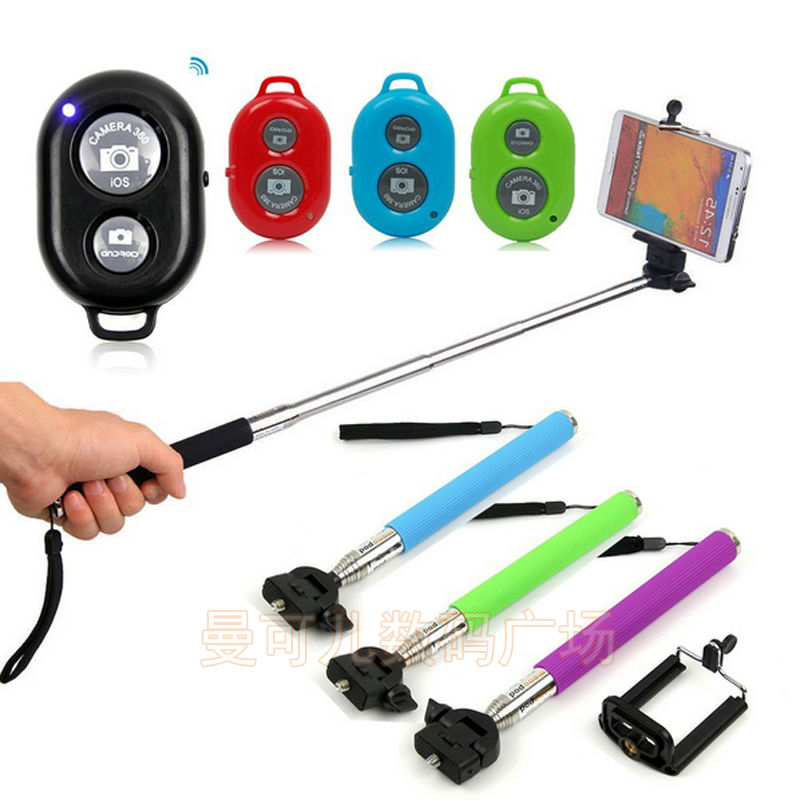 High quality Extendable Selfie Stick Bluetooth Monopod+clip Holder+bluetooth Camera Shutter Remote Controller Android iOS