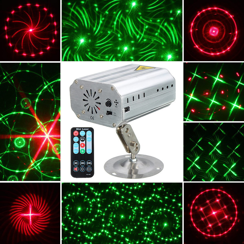Mini R&G 24 Patterns Laser Projector lights Sound Activated Dance Disco Bar Family Party Holiday Xmas Stage Lighting Effect new mini 4in1 patterns sunflower whirlwind r