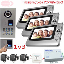 Sunflowervdp Video Door Phone Doorbell Bell Intercom IP65 Waterproof Fingerprint Unlock CCD Outdoor Camera Home Intercom 1v3