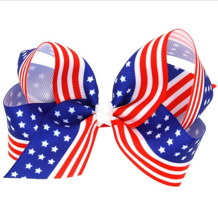 1. Articolo specifiche. 100 pz Spedizione gratuita Americano Bandiera rosso  bianco blu nastro dell arco dei capelli della clip de646067e43f
