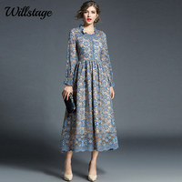 Willstage Blue Floral Lace Dress Party Elegant Hollow Out Long Sleeve Dresses Women Vintage High Quality
