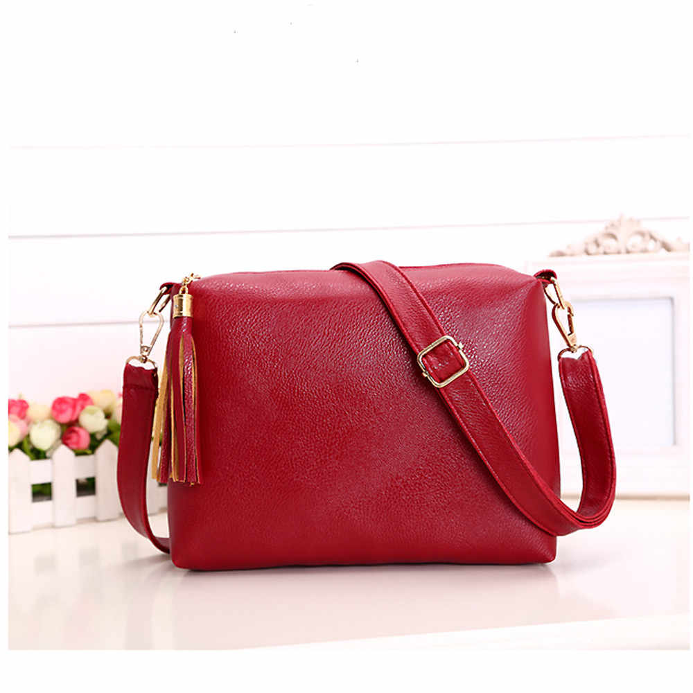56f00e380ea5 Fashion Women Tassel Leather Bag Crossbody Shoulder Messenger Bags Red  Messenger Bags Luxury Handbags Women Bags #S