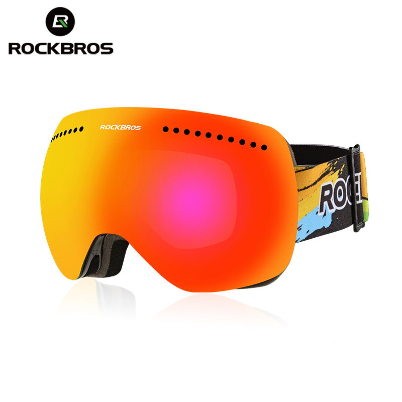 ROCKBROS Profess Skiing Snowboard Magnet Goggles Man Women Anti-Fog Windproof Cycling Glasses Large Spheral Myop Skating Eyewear