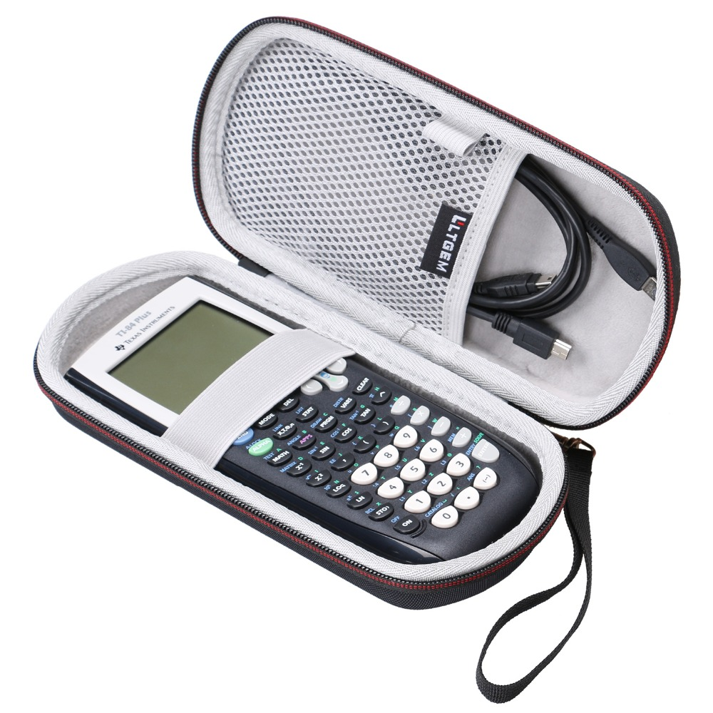 LTGEM Case For Texas Instruments TI-84, 89/83 / Plus/CE Graphics Calculator-Includes Mesh Pocket.(Hard And Black)