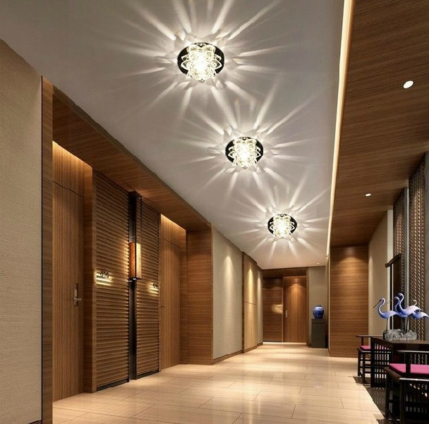 Colorpai 3W crystal light ceiling lamp bedroom restaurant aisle balcony modern home lighting AC220-240V white/warm white