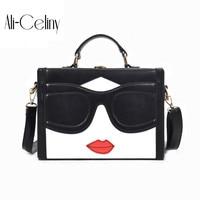 Fashion Lovely Face Women Handbags Red Lips Pu Leather Crossbody Bag Lady Trunk Lock Box Mini
