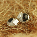 Cute Dairy Cow Stud Earrings With Black White Natural Stones Very Special Handmade Jewelry Real 925 Sterling Silver Bijoux Plata