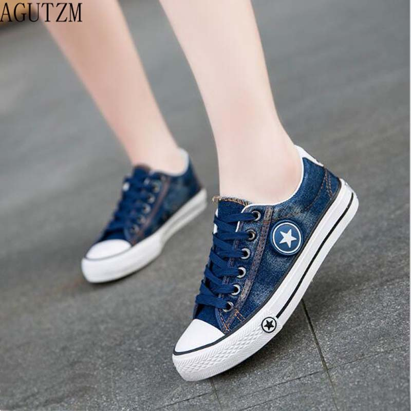 395f9e359a6 Detail Feedback Questions about AGUTZM Women Casual Shoes Girls Canvas Shoes  New Denim Trainers Stars Fashion Skate Shoes Flats Basket Femme Tenis  Feminino ...