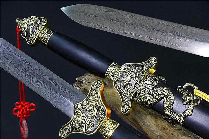 Ingenious Handmade Ebony Wood Saya Folded Damascus Steel Blade Chinese Kungfu/wushu Sword Full Tang Swords Power Source
