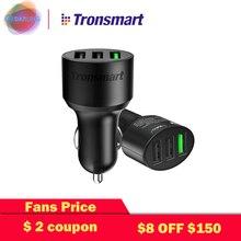 QC3.0 автомобильное зарядное устройство Tronsmart C3PTA 3 USB зарядных порта адаптер питания Quick Charge 3,0 VoltIQ совместим с Quick Charge 2,0