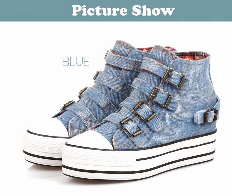 High Top Women Denim Shoes Espadrilles 2016 Fashion Autumn Hide Wedges Canvas Womens Shoes Lace Up Casual Shoes Sapatilha YD135 (28)