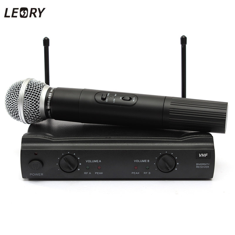 leory best professional 2 dual wireless cordless handheld microphone mic receiver dj ktv party. Black Bedroom Furniture Sets. Home Design Ideas