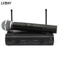 LEORY Best Professional 2 Dual Wireless Cordless Handheld Microphone Mic Receiver DJ KTV Party Concert Home Microphone US Plug