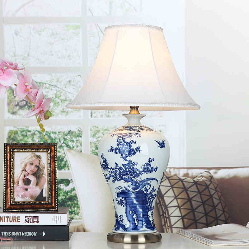 Blue and white bird Art Chinese porcelain ceramic table lamp ...