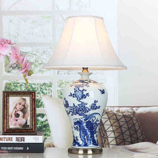 Blue and white bird art chinese porcelain ceramic table lamp bedroom blue and white bird art chinese porcelain ceramic table lamp bedroom living room wedding table lamp aloadofball Gallery