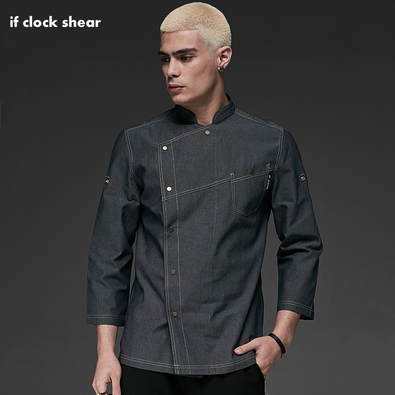 New Long Sleeve Kitchen Catering Restaurant Chef Jackets Food Serive Unisex Casual Blue Denim Fabric Hotel Uniform Chef Clothes