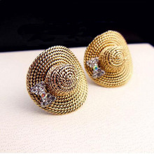 Exquisite Shining Crystal Hat Style High Quality Stud Earrings Women GOLD Jewelry Holidays GIFT Channel Earrings Wholesale