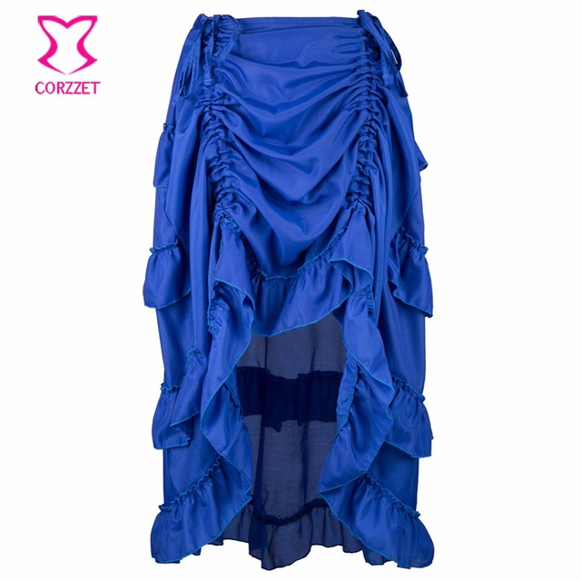 f74198bd69 Victorian Blue Ruffles Chiffon Lace Up Front Asymmetrical Vintage Gothic Skirt  Women Skirts Steampunk Corset Sexy Petticoat Saia