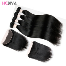 Cheap Brazilian Virgin Hair 3 Bundles Straight With  Lace Frontal Closure Bundle 8a Straight Brazillian Hair With Lace Closure