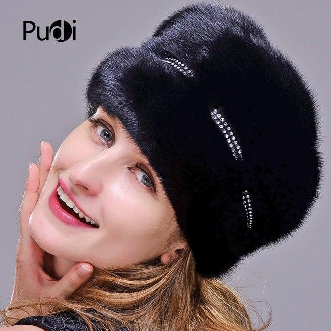 2019 real chapéu de pele de vison importado feminino boné de pele de luxo high end chapéu de pele natural senhoras inverno chapéu quente com tampão octogonal boné - 6