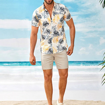 Summer Mens Hawaiian Shirts Fashion Stand Collar Strip Print Short Sleeve Shirt Top Streetwear Camisa Masculina Chemise Homme 2