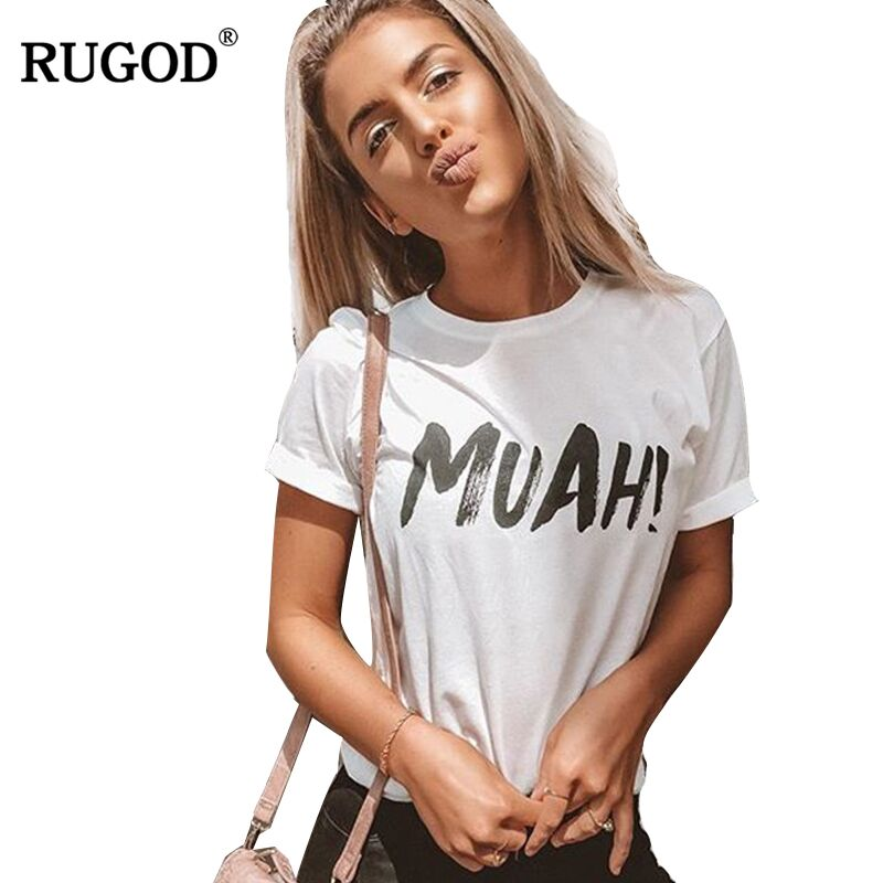 RUGOD Newest Funny MUAH Letter Print Cotton Tshirt Women 2018 Summer Rolled Sleeve White T Shirt Harajuku Casual Women Tops