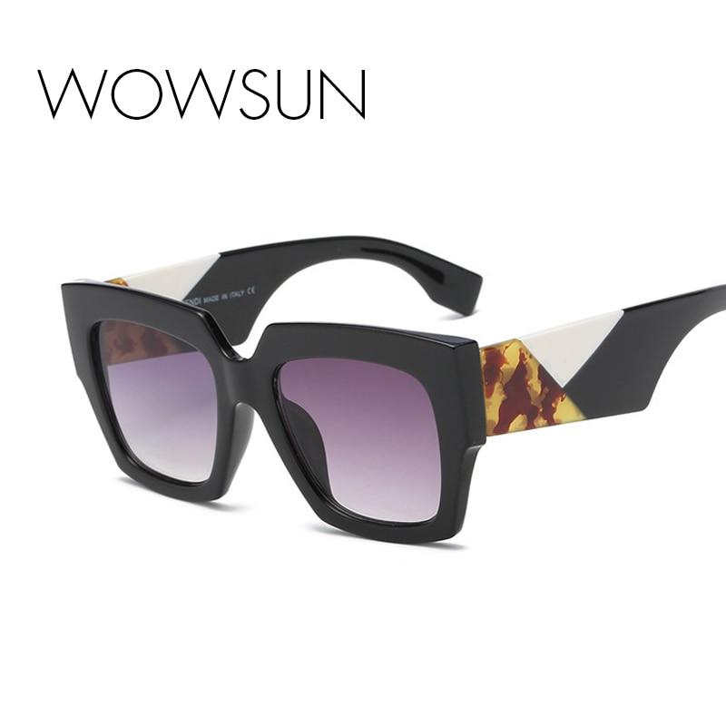WOWSUN 2018 Sunglasses Women Brand Designer Oversized Leopard Blue Black Big Square Shades For Unisex Eyeglasses UV400 A323