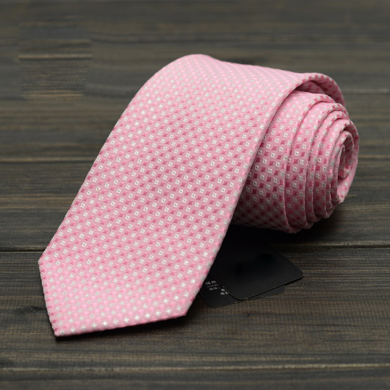 Mens Ties 8cm Formal Suit Business Wear Necktie Meeting Interview Office Pink Red Plaid Wedding Jacquard Weave Tie with Gift Box