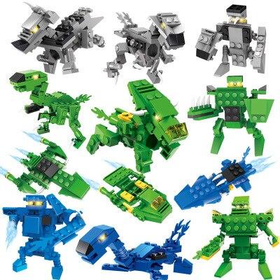 DIY Mini Micro Toy Block Plastic Dinosaur warrior Assembling Building Blocks Toys for Children Gift For Lovers