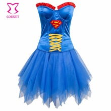 007e8aeb4a Fashion Women Superhero Halloween Corset Dress Burlesque Costumes Sexy  Corsets and Bustiers Skirt Set Corselet Gothic