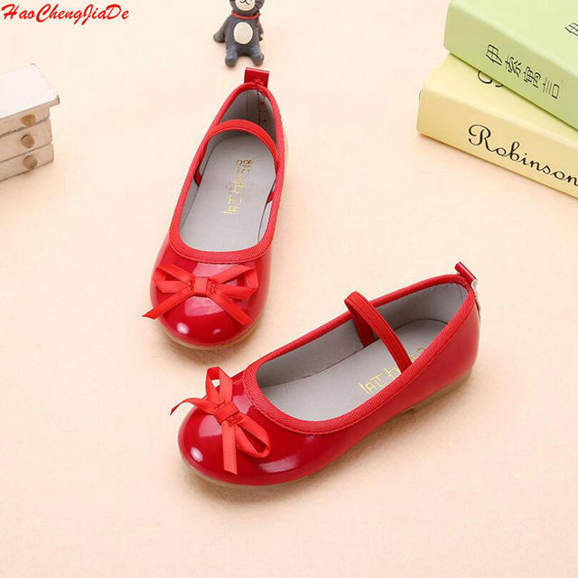 3dd777538fd Hot Spring Autumn Kids Party Bow Shoes Girls Princess Single Flat Shoes Red  Black Children PU Leather Toddler Shoes Size 21-36