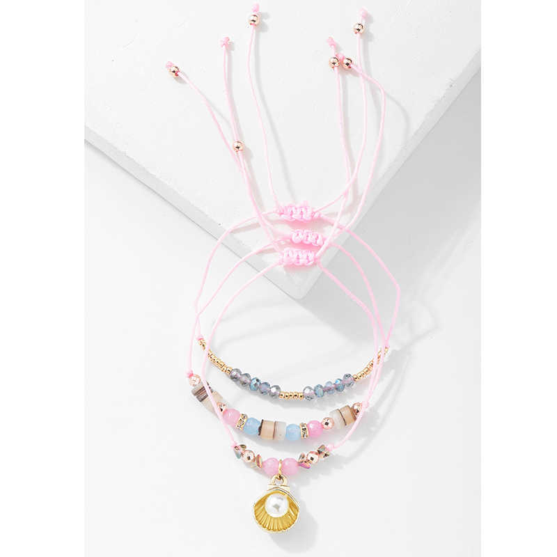 Mujeres salvajes y libres 6 cuentas de cristal de Color pulsera carcasa de Metal y Perla de imitación colgante brazaletes 3 unids/set cuerda ajustable pulseras