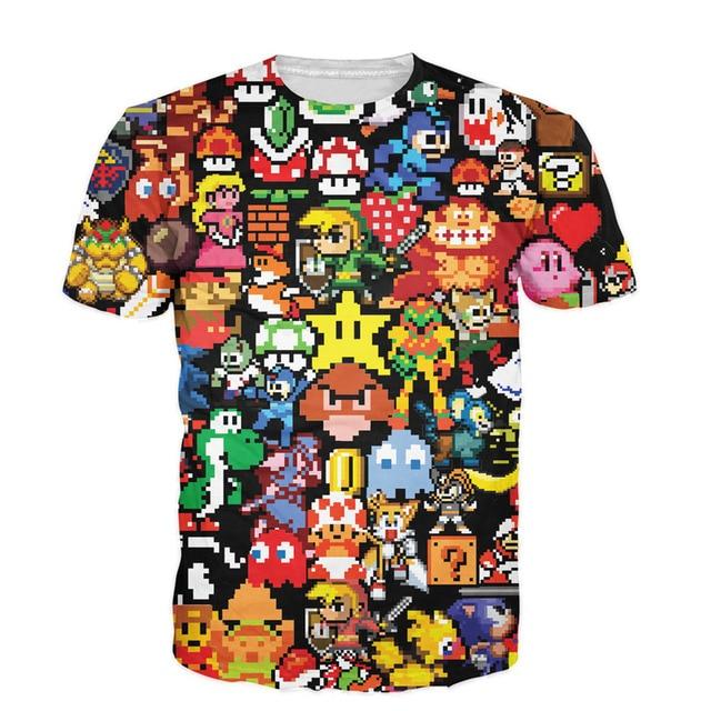 36876ab9 Alisister New 3D Arcade Collage T-Shirt Cartoon Character Pikachu Kirby  Mario Chocobo Arcade Style T Shirt Men Women Unisex Tops