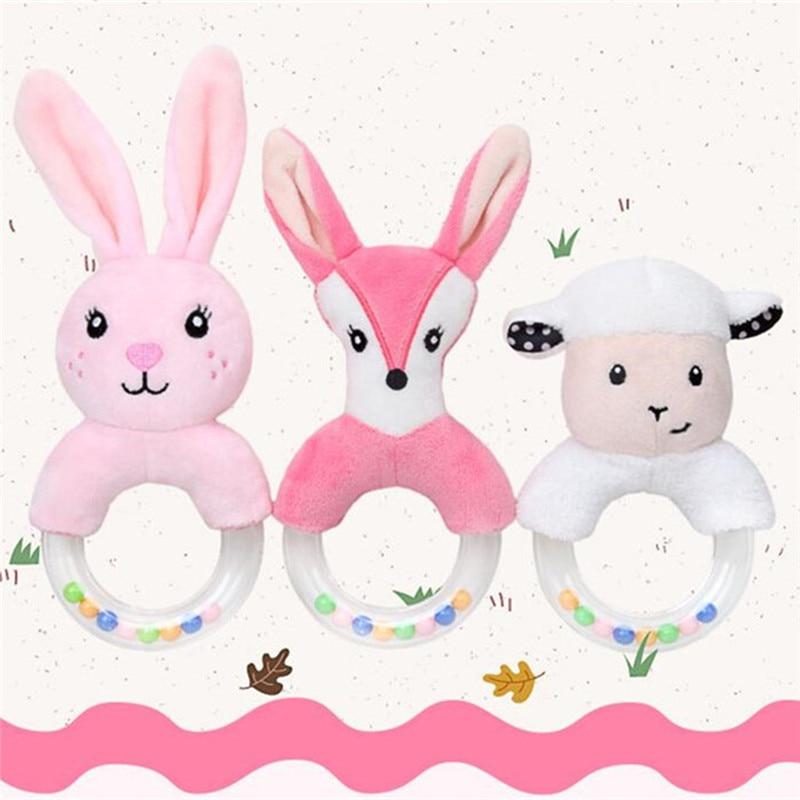 Baby Plush Toys Cute Cartoon Plush Rabbit Fox Sheep Hand Bell Round Hand Rattling Newborn Boys Girls Toys Gift