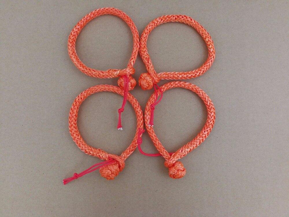 4 unids 4mm * 90mm naranja suave grilletes, UHMWPE shackle para yate, cuerda vela grillete