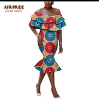 2017 long dress for women AFRIPRIDE african clothing elegant off-shoulder strapless mid-calf fishtail women party dress A722581