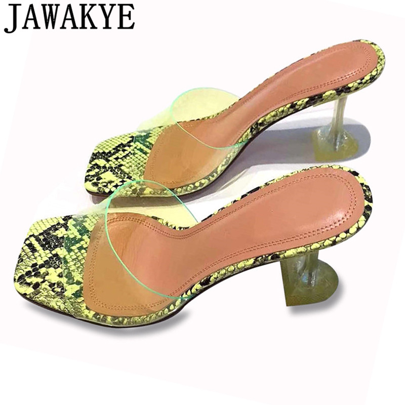 Transparent clear PVC slippers women candy color snakeskin genuine leather sexy cup high heel sandals 2019