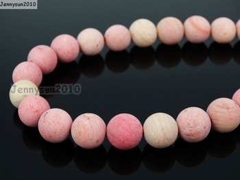 Natural Matte Rhodochrosite 12mm Frosted Gems stones Round Ball Loose Spacer Beads 15''   5 Strands/ Pack