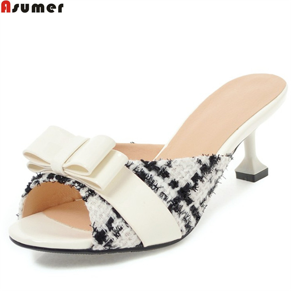 Detail Feedback Questions about ASUMER big size 33 43 2018 new fashion  summer ladies shoes peep toe shallow elegant mules shoes heel 5.5cm women  slippers on ... ca768c831d3b