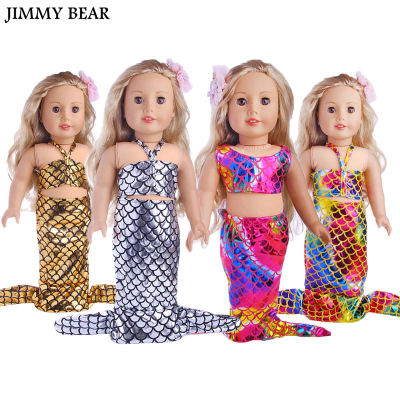 JIMMY BEAR 18 inch Dolls Clothing Mermaid Tail Swimsuit Swimwear for 18'' American Girl Our Generation My Life Journey Doll Acs doll accessories american girl dolls clothes spiderman batman superman cosplay for 16 18 inch dolls girl gift x 54 dropshipping