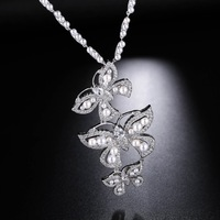 UMGODLY Luxury Brand Cubic Zirconia Butterfly Pearl Necklaces Silver Color Pendant Beautiful Women Fashion Party Wedding Jewelry