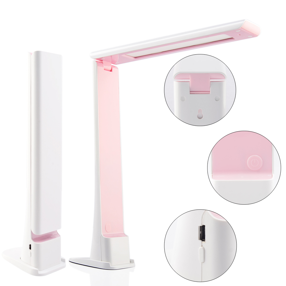 Foldable Touch Dimming LED Desk Table Lamp USB Rechargeable Bedside Study Reading Light Indoor Lights For Bedroom - White + Pink usb rechargeable foldable touch dimming desk lamp 42 led 3 brightness adjustable eye protect ultra thin reading study lamp