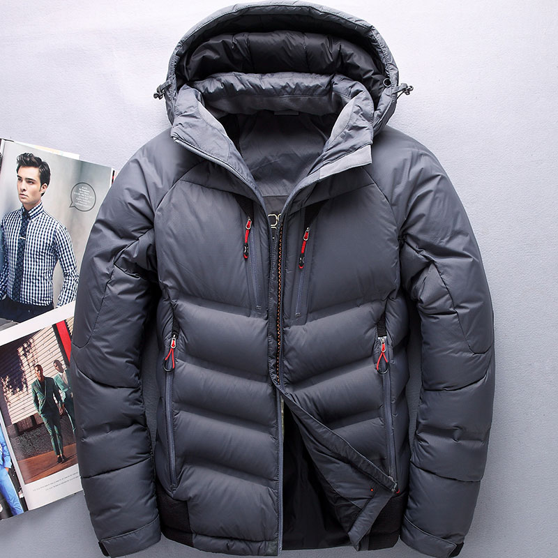 2017 winter men   down     coat   thick warm long sleeve male   down   jacket with cap BLACK GREEN GRAY M L XL 2XL 3XL