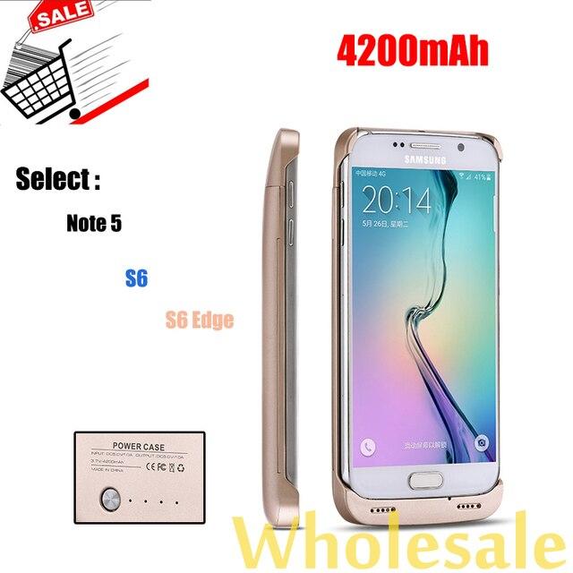 Para samsung s6 edge + plus caso poder 4200 mah bateria externa caso carregador de bateria galaxy s6 edge plus/note5 432 de backup carregador