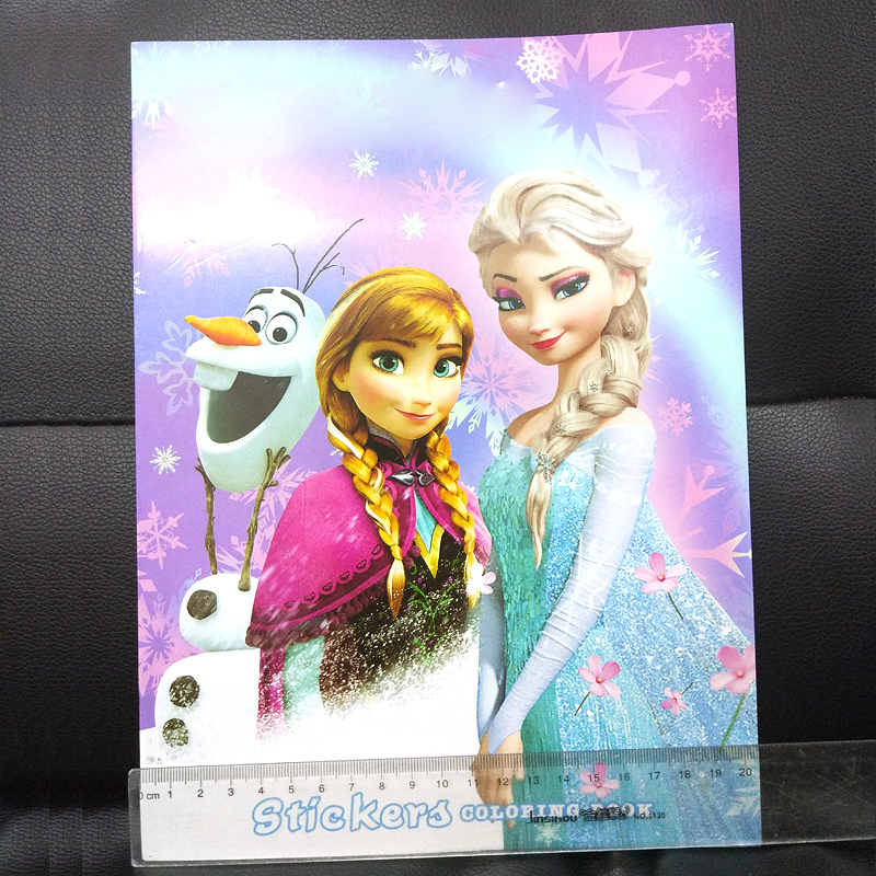 16 pages Snow Princess Girls Coloring Book Sticker Book For kids Children Adults colouring Painting Drawing story color books   (5)