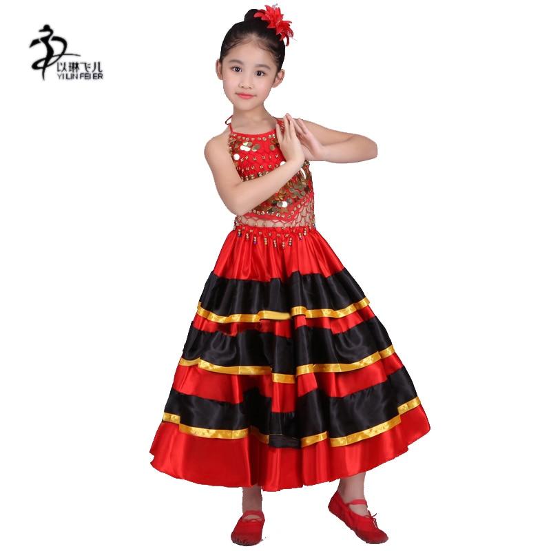 Child Belly & Flamenco dans kjolar röda spanska dans kjolar kostymer för tjejer 360 grader, 540 grader, 720 grader stora kjolar