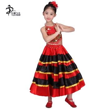 a21c3515c Faldas de danza del vientre del niño y del Flamenco faldas de baile del  español rojo Disfraces para Niñas 360 grados, 540 grados, faldas grandes  720 grados